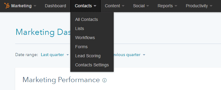 Hubspot Contacts Menu